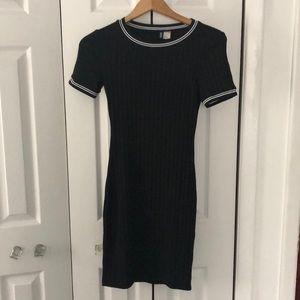 Black bodycon dress with stripe detailing